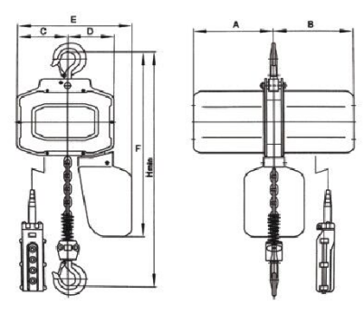 SY-S Single Phase Electric Chain Hoist drawing.png